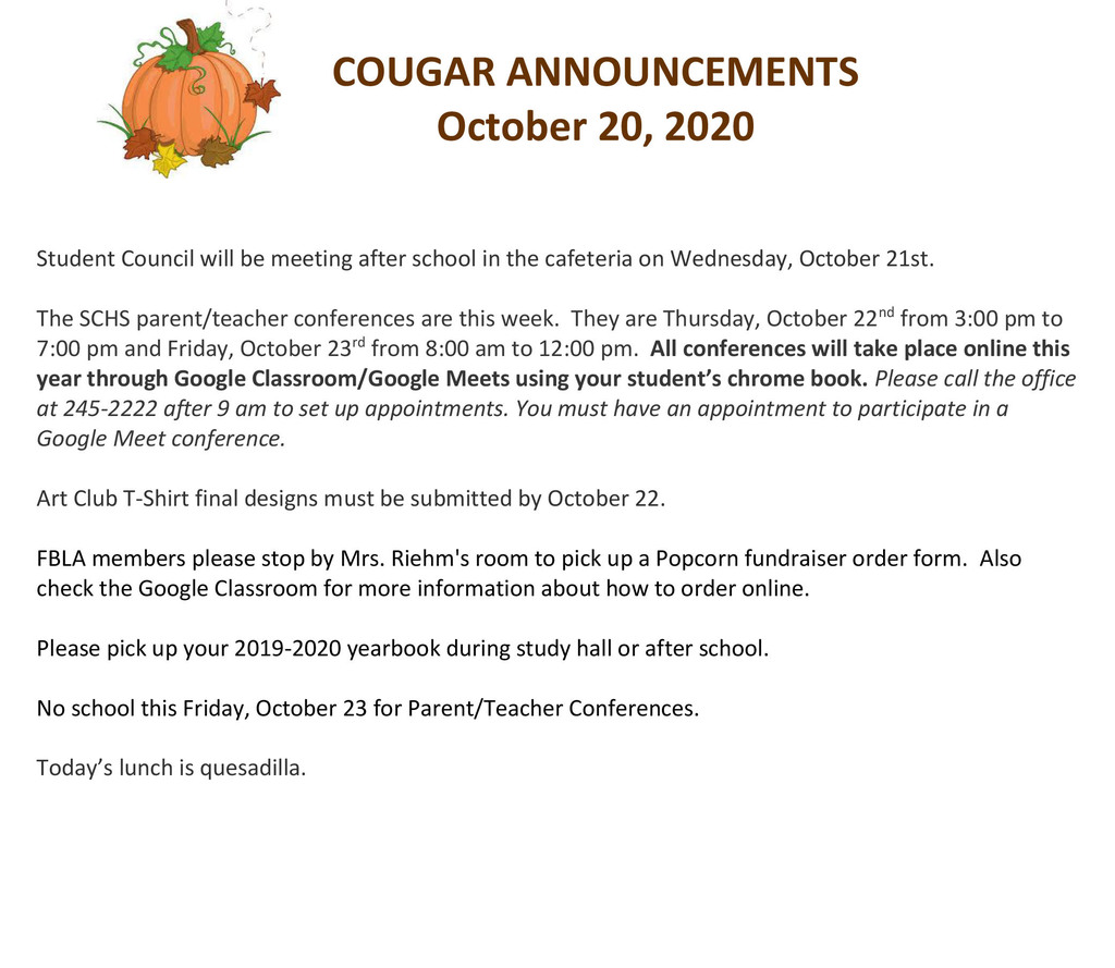 Cougar Announcements