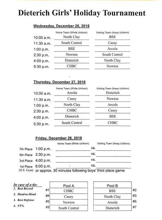 Holiday Tourney