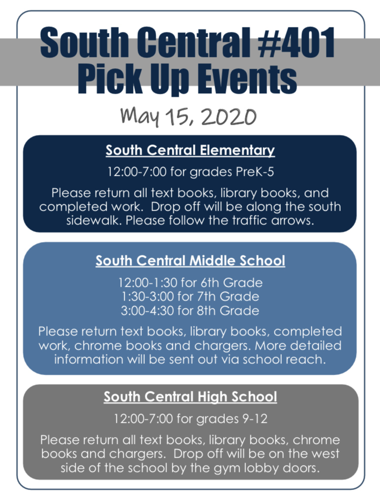 May 15 Pick Up Events